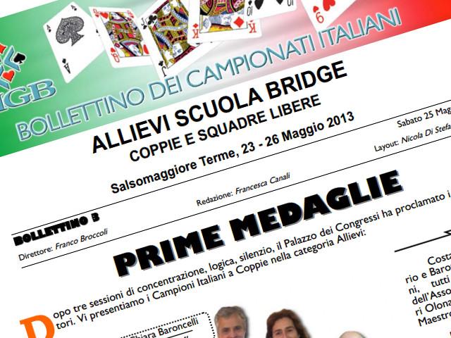 Bollettini dei Campionati Allievi a Coppie e Squadre Libere 2013