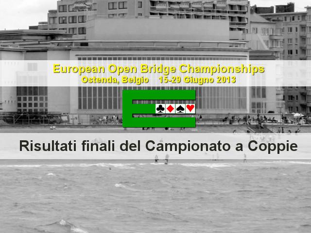 European Open Championships 2013: conclusione del Campionato a Coppie