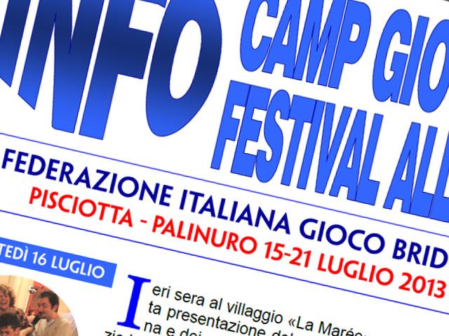 Bollettini del Camp Giovani, Giochi Studenteschi e Festival Allievi 2013