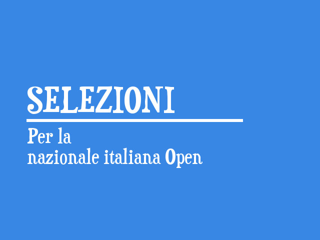 Formata la Nazionale italiana Open