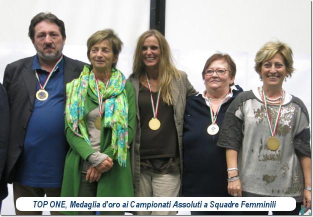 TOP ONE, oro ai Campionati Assoluti a Squadre Femminili