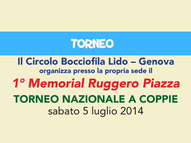 "Genova, Torneo ""Memorial Ruggero Piazza"" 2014: CLASSIFICHE e FOTO"