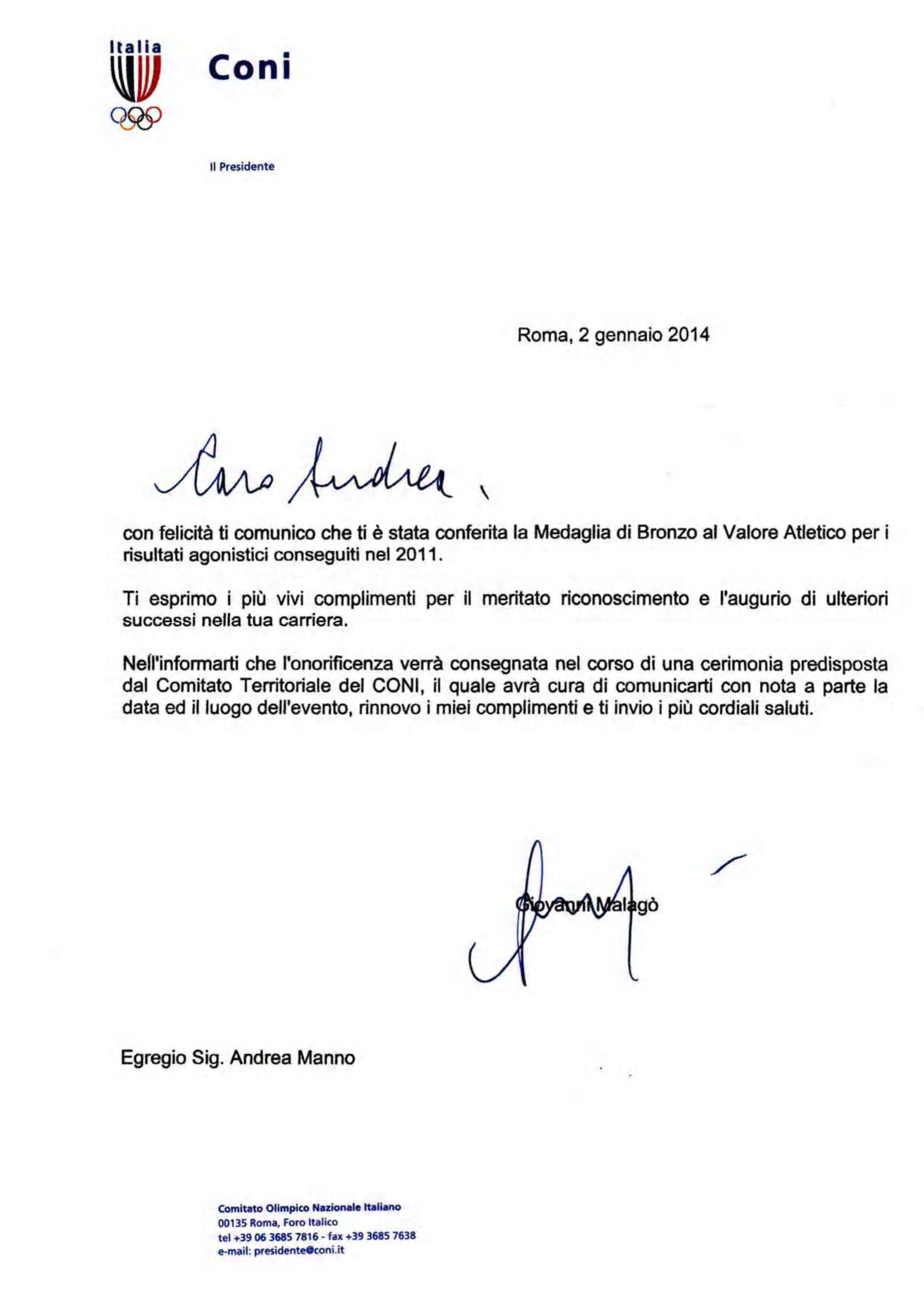 Riconoscimento-del-Presidente-del-CONI-ad-Andrea-Manno