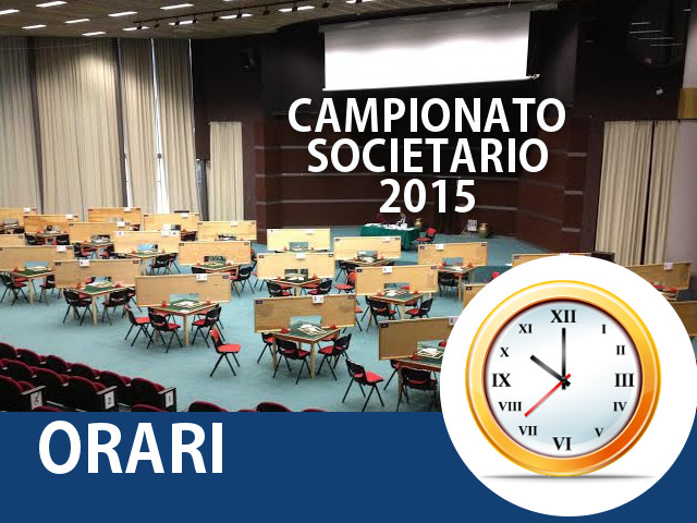 Campionato Societario 2015: Orari BBO