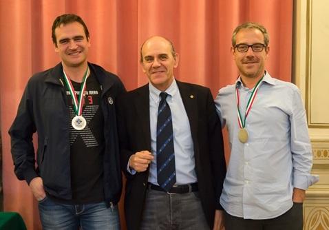 Andrea Medusei e Giovanni Bobbio durante la premiazione del Campionato a coppie ordinari
